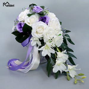 Image 4 - Meldel Bride Waterfall Wedding Bouquet Bridesmaid Wedding Flower Vintage Rose Flower Marriage Party Supplies Luxurious Bouquet