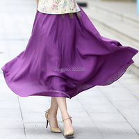 Free Shipping Blend Linen Long Skirt Spring Summer Skirts Chinese Style Bohemian Purple Skirts Casual Bandage