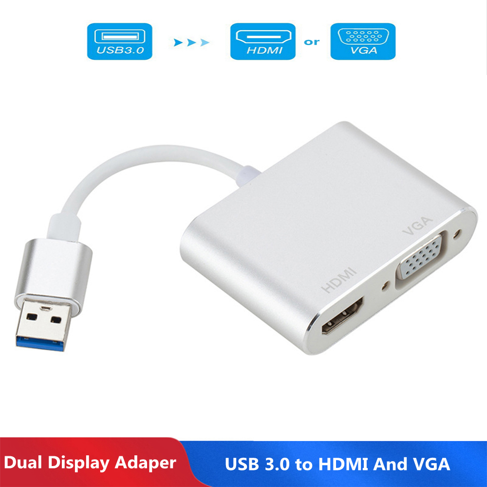 USB3.0 to <font><b>HDMI</b></font> VGA Adapter <font><b>4</b></font> <font><b>K</b></font> HD <font><b>1080</b></font> <font><b>P</b></font> Multi-Display <font><b>2</b></font>-in-<font><b>1</b></font> USB to <font><b>HDMI</b></font> Converter audio Video Cable For MacBook Computer image