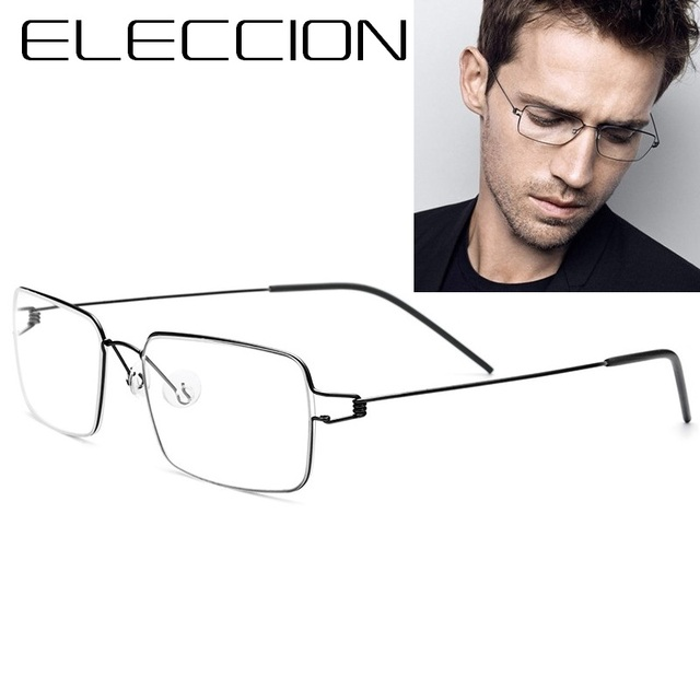5032b39bc1 ELECCION Ultralight Titanium Rim Screwless Eyewear Korean Fashion Style  Square Full Frame Glasses Men Optics Eyeglasses Frames