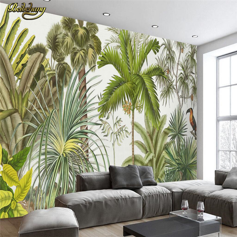 beibehang Custom photo wallpaper large mural wall stickers European style hand painted tropical rainforest TV backdrop wall beibehang custom photo floor painted