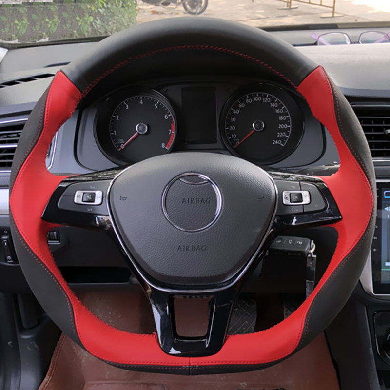 Micro Fibe Leather+Nubuck leather+Cowhide Steering Wheel Covers Protect For Volkswagen VW Golf 7 Mk7/Polo/Jetta/Passat B8