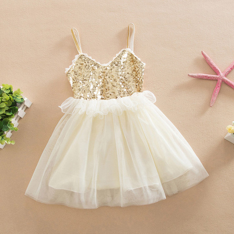 Tulle Ball Sleeveless font b Dresses b font Sequins Princess Children Baby Girl Clothing Lace Party