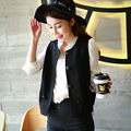 2017 spring vest black sleeveless short design slim vest female fashion coat female