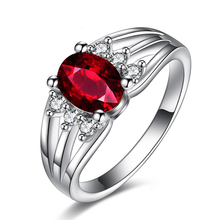 Luxurious Ruby Jewelry Wedding Engagement Accessories Women Silver Plated Rings For Party New 2016 A1155