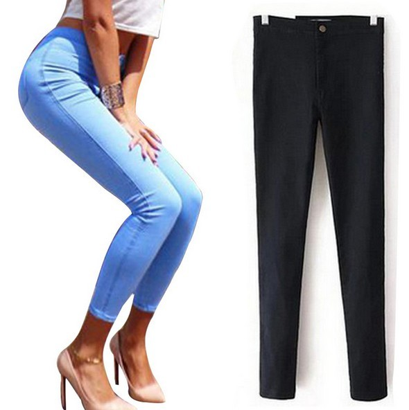 2016 Spring New Women Fashion High Waist Skinny Pencil Pants Casual Slim Sexy Stretch Jeans Trousers Pants