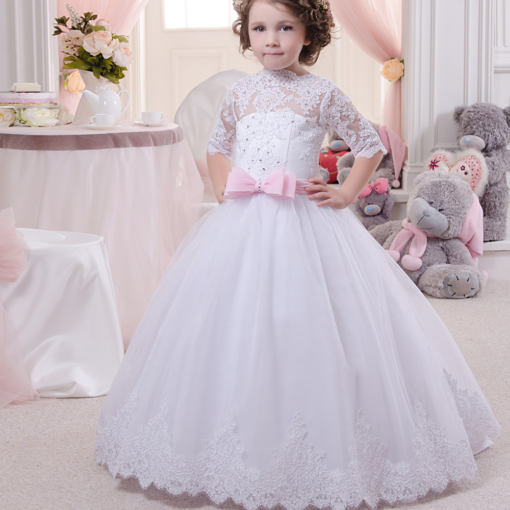 Holy Communion Dresses Half Sleeves Lace Appliques Floor Length Beading White Tulle Prom Puffy Ruffle Sweep Flower Girl Dress 12 fancy straps appliques beading short prom dress