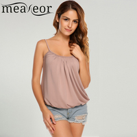 Meaneor Women Casual Solid Adjustable Spaghetti Strap Cami Tank Tops Elastic Hem 2018 Spring Summer New