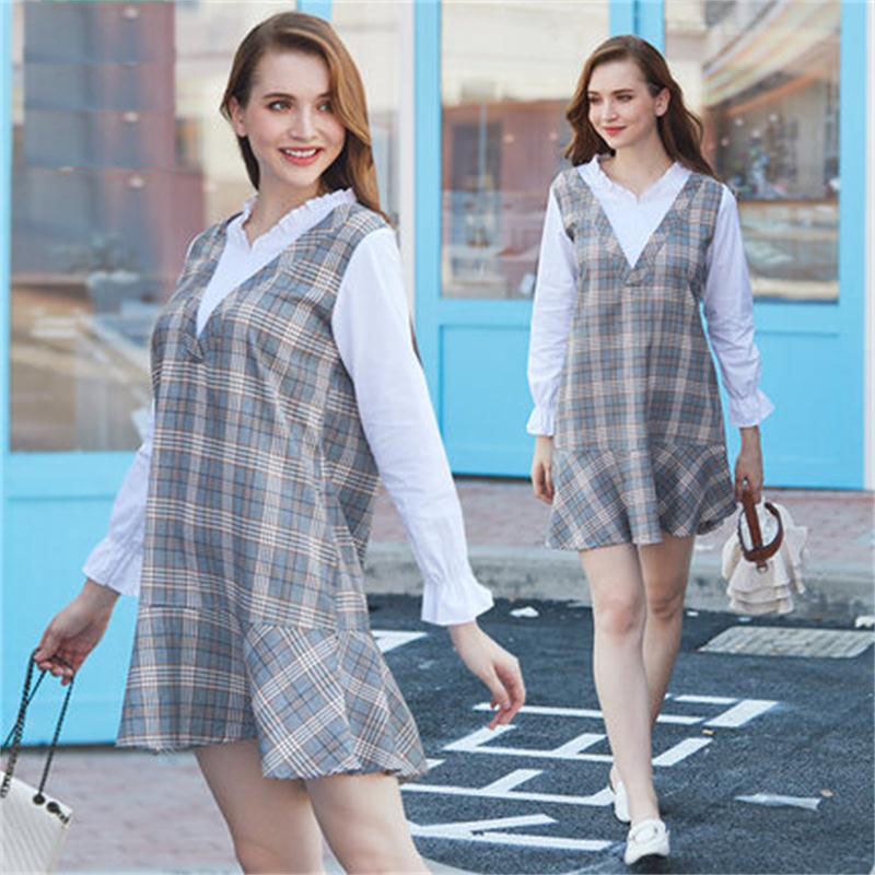 Maternity wear 2018 autumn new Korean fake two-piece shirt stitching suit fashion section long pregnant women dress стоимость