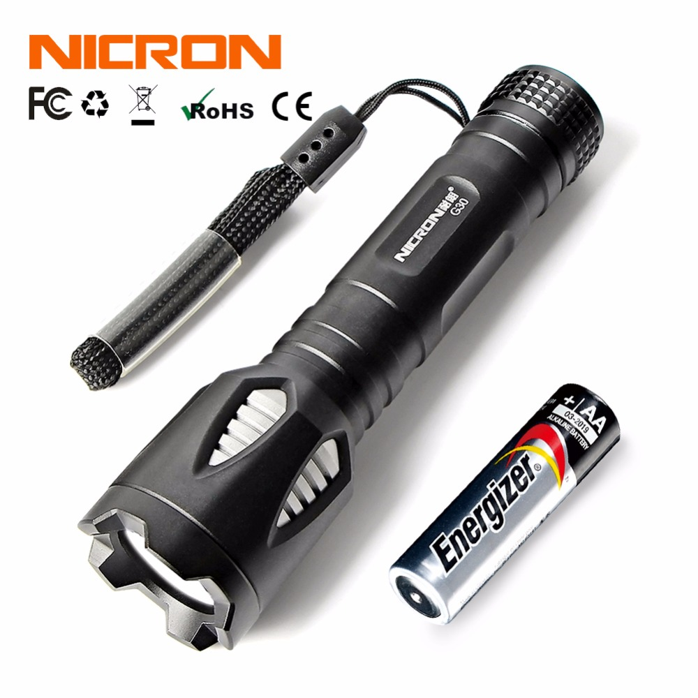 NICRON 1W Portable Mini Flashlight Aluminum Pocket  High-quality LED Torch Torch For AA Waterproof 3 Modes LED Torch 65 LM G30