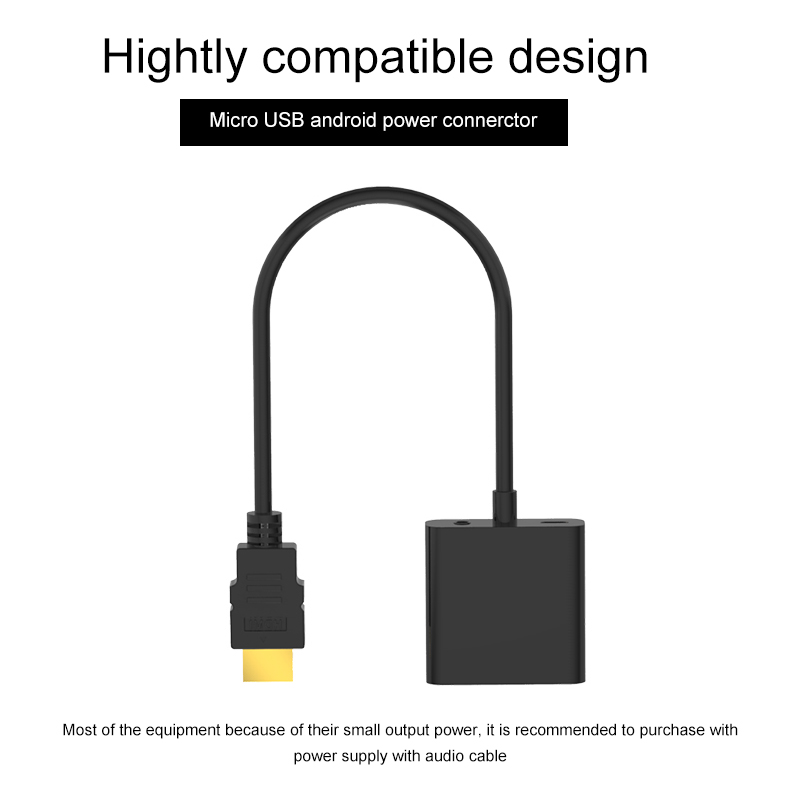 HDMI to VGA Adapter Male To Famale Converter Adapter For PC Laptop Tablet 1080P Digital to Analog Video Audio in VGA Cables from Consumer Electronics