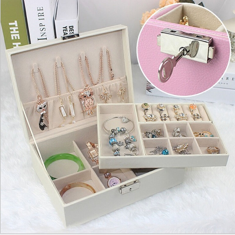 2 Layers Women jewelry boxes leather Travl storage box & bracelet necklace ring Carrying Cases 4 Color Makeup jewelry packaging