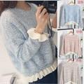 2015 oferta especial nueva cubierto sólido estándar completo Pepe Jeans Sueter dulce dama agárico costuras manga murciélago suéter de punto para mujer