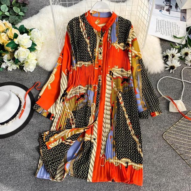 Women's summer print shirt dress long sleeve stand collar waist tie print dress loose chiffon pleated dress large size fashion