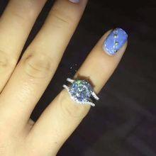 Кольцо стерлингового серебра 925 4 карат 10 мм имитация синтетический камень кольцо наборы для женщин