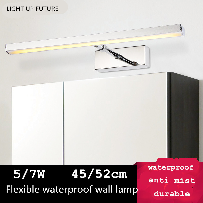 ФОТО modern brief aluminum acryl mirror light led 5/7W waterproof antimist durable wall lamp for bathroom bed room 1956