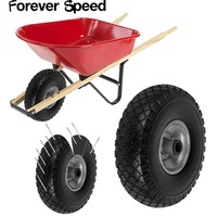 Wheelbarrow wheel 260mm Spare tire barrow  trolley PU wheel solid rubber wheels puncture proof loading 100kg black Ribbed Tread|Casters| |  -