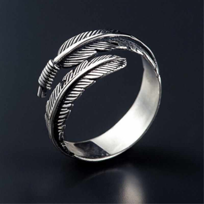 European and American men's alloy open ring geometric personality leaf feather ring adjustable rings for women  4CRD141