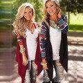 2016 de La Moda Femenina de la Rebeca Azteca Estampado de Rayas de Manga Larga Abrir Stitch Poncho de Las Mujeres de Moda Casual Primavera Otoño Tops Escudo