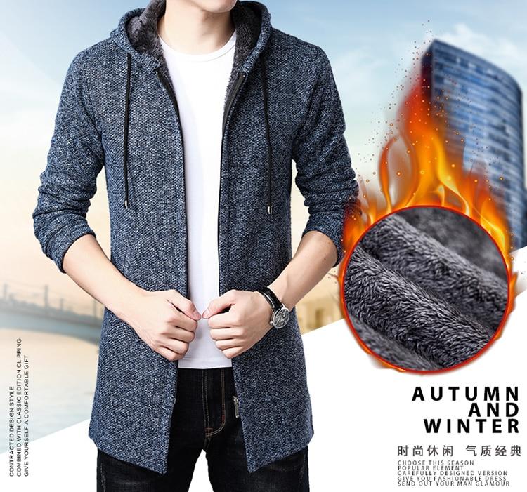 Litthing 2019 Winter Thick Warm Sweater Hooded Long Male Cardigan Men Hooded Sweater Coat Cotton Liner Zipper Male Fleece Coat