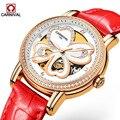 Роскошные Водонепроницаемые часы ремешок для женщин автоматическая машина красные часы женские