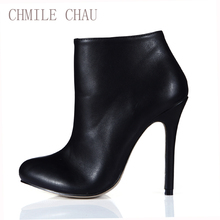 2016 Winter Sexy Party Shoes Women Stiletto High Heels Ladies Ankle Boots Zapatos Mujer 0640CBT-e3 цена в Москве и Питере