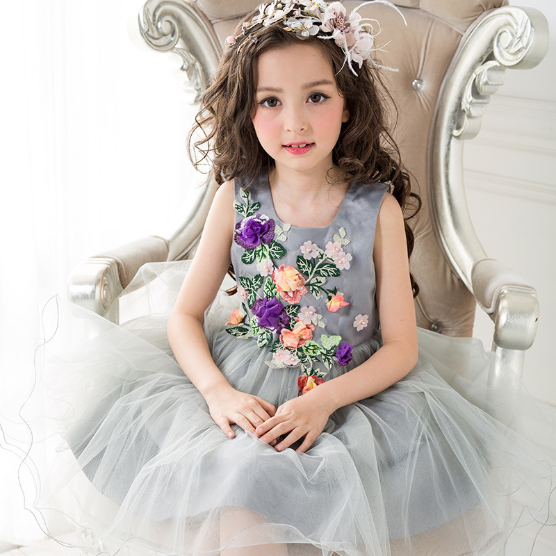 Chiffon Kids Ball Gown Girls Prom Dress Wedding Girl Flower Pageant Party Dresses Gray Flower Girl Dress Tutu Dress For 4~9 Year kids tutu dress girl flower dress 2016 summer girls party dresses with gloves fashion dance dress kids girls clothes ball gown