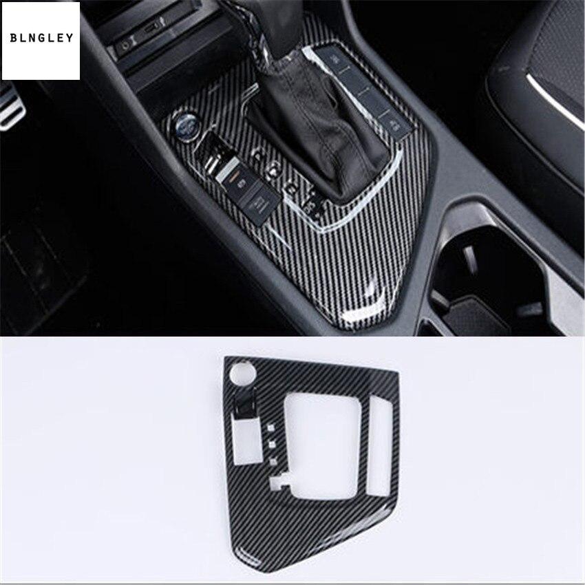 Free shipping 1pc ABS carbon fiber grain gear pedal decoration cover for 2017 2018 Volkswagen VW Tiguan MK2 Tiguan L