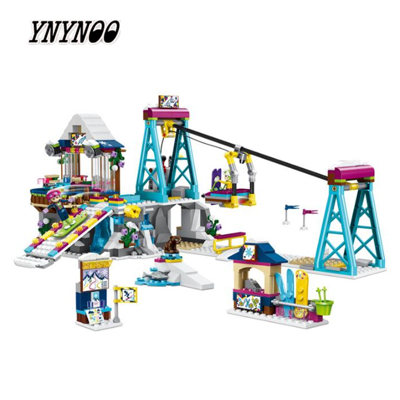 YNYNOO 37028 Girls Friends game bricks Snow Resort Ski Lift model Building Blocks Bricks Toy 41324 compatiable legoings Friends