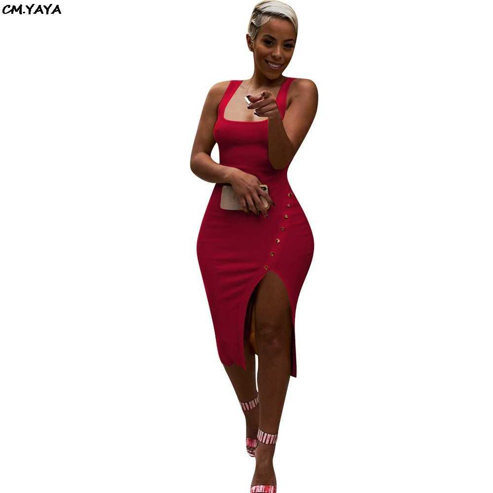 2019 mujeres verano sin mangas lado spit tejido ajustado midi vestido sin mangas longitud rodilla vintage sexy vestidos de fiesta vestidos LM9065