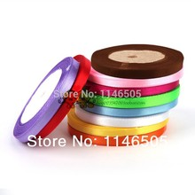 Free shipping 250yards clothes accessories multicolour ribbon 1cm 3/8 solid color satin 10colors mixed packaging