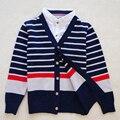 Roupas 100% de Algodão Crianças Meninos Blusas Inglaterra Moda menino cardigan casaco jaqueta Outono Inverno Malhas Camisola do menino do adolescente