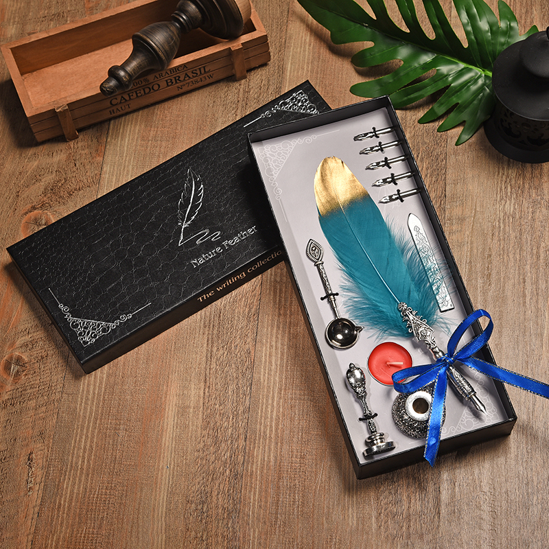 Vintage Fountain Pen English Calligraphy Feather Pen Writing Candle Lacquer Feather pen Set Gift Box for Wedding Christmas Gift