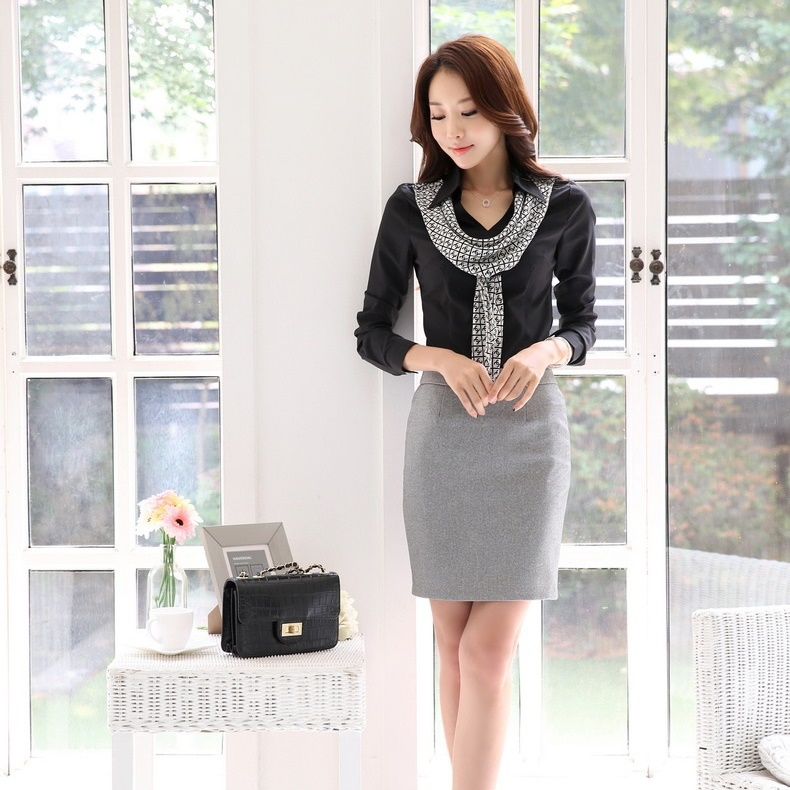 Fashion Women Work Wear Suits Two Piece Skirt Blouse Top Sets Black Shirts Ladies Office Uniforms Styles - Kidmall Online Store store
