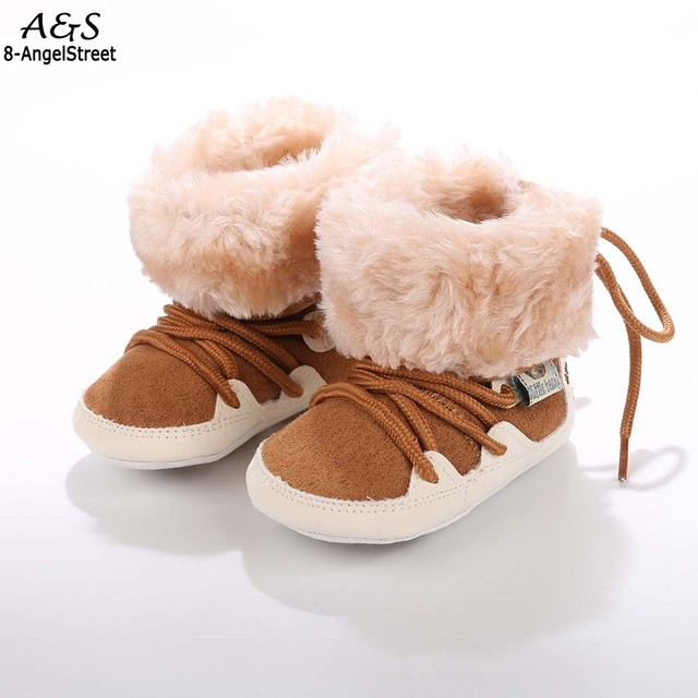 New Infant Newborn Baby Girls Boys Winter Snow Boots Soft Warm Lace Up Crib Shoes Cotton Solid Casual