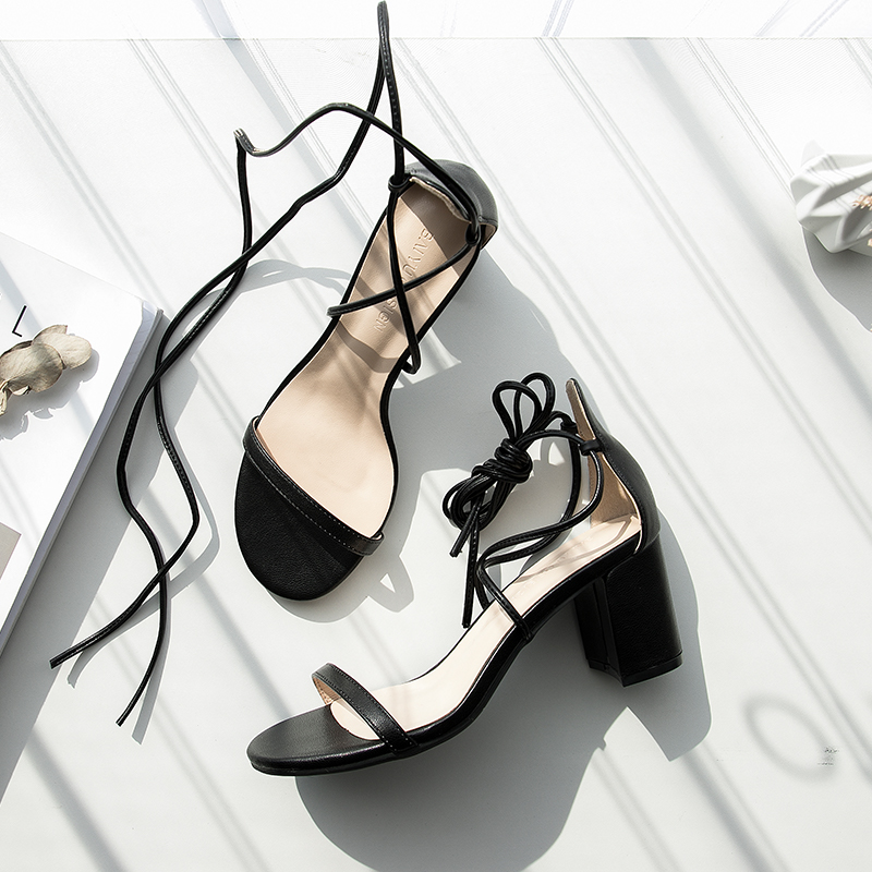 La Mujer Tobillo Zapatos Verano Gladiador azul Tacones plaza caqui Bomba Damas Negro Alta 2019 Roma Correa Sandalias Encaje De q6wCff