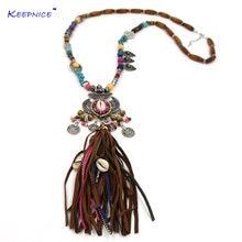 Ювелирные изделия викингов длинные кожаные ожерелья с бахромой