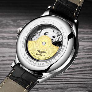 Image 4 - GUANQIN 2018 שעון גברים זוהר שעון גברים אוטומטי עמיד למים מכאני עור רוז זהב שלד עסקי relogio masculino