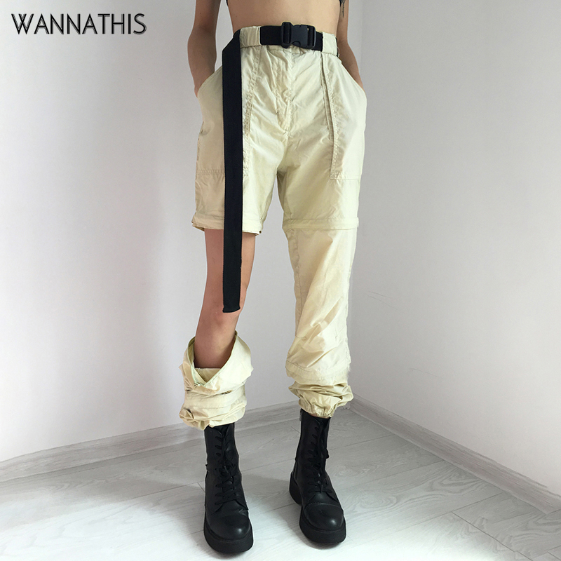 WannaThis Streetwear Cargo   Pants   Women Casual Joggers Beige High Waist Loose Female Trousers Korean Style Ladies   Pants     Capri