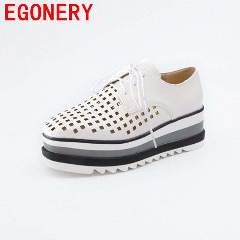 EGONERY 2018 square toe zapatos mujer lace-up wedges high heels platform shoes campus all-match style hollow out spring shoes 2016 spring autumn women pumps fashion square toe lace up ladies shoes silver platform wedges high heels zapatos mujer 33 40