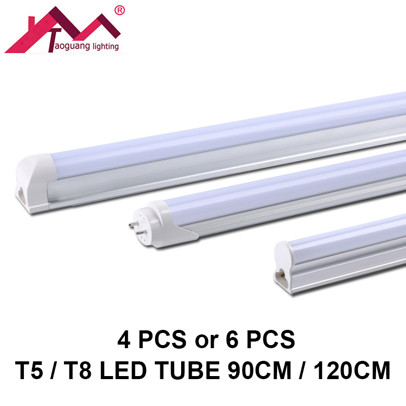 4pcs or 6pcs T5 T8 LED Tube Light 90CM 120CM SMD2835 LED Fluorescent Tube Ampoule LED Tube Lamp Cold White Warm White Bulb Light free shipping led tube t8 bulb 8ft 40w 110 277vac r17d converter replace ho fluorescent lamp light