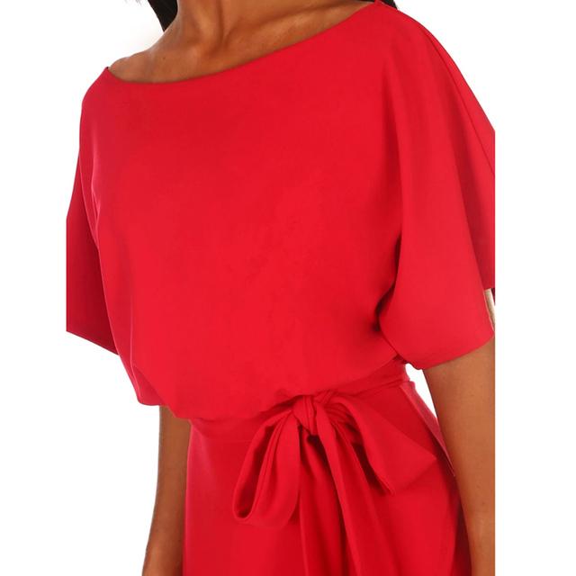 Blue Elegant Sexy Casual Dress Summer 2019 Short Sleeve Lace Up Bandage Midi Dress Women O Neck Office Dresses ladies Streetwear