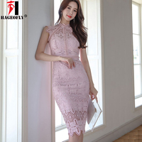 HAGEOFLY 2018 New Summer Pink Lace Dress Elegant Hollow Out Floral Off Shoulder Bodycon Sexy Casual Wedding Party Korean Dresses