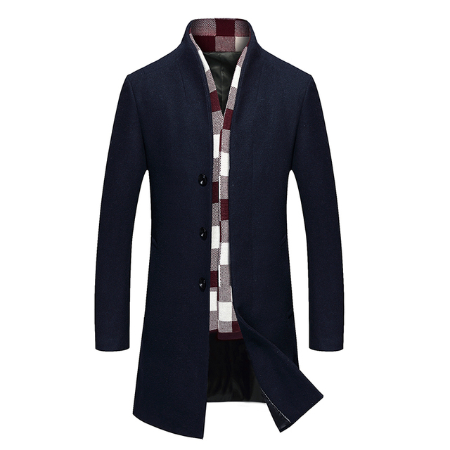 2016 new fashion trench coat men winter men 39 s woolen blended coat collar design long outwear. Black Bedroom Furniture Sets. Home Design Ideas
