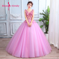 Fairy pink Evening Dresses 2018 Plus Size Tulle Appliques Long Formal Dresses Gowns V Neck Lace Up Sleeveless Robe De Soiree