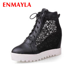 ENMAYER Cut-Outs summer boots for women Free shipping wedge short fashion Ankle Martin black white big