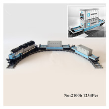 IN STOCK H&HXY 21006 1234pcs New Genuine Technic Ultimate Series The Maersk Train Set Lepin Building Blocks Bricks Toys  10219