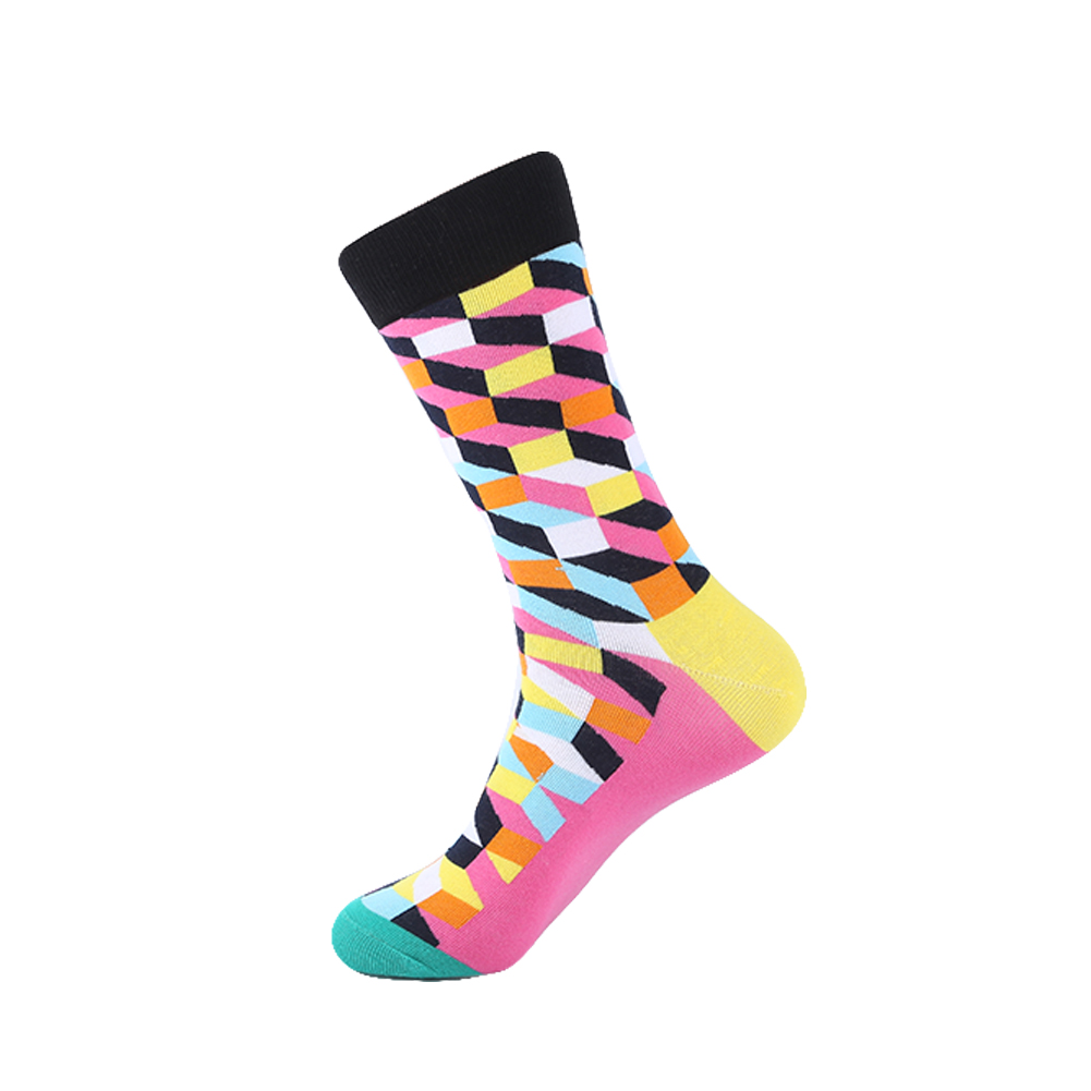 YEADU 5 Pair/Lot Mens Colorful Combed Cotton Socks New Color Red Grey Filled Optic Casual Dress Socks Mid Calf Crew Socks