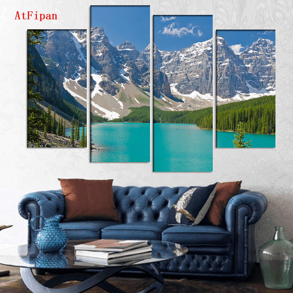 Atfipan l 00 for living room large landscape majestic mountain lake in canada canvas print painting unframed art poster in painting calligraphy from home