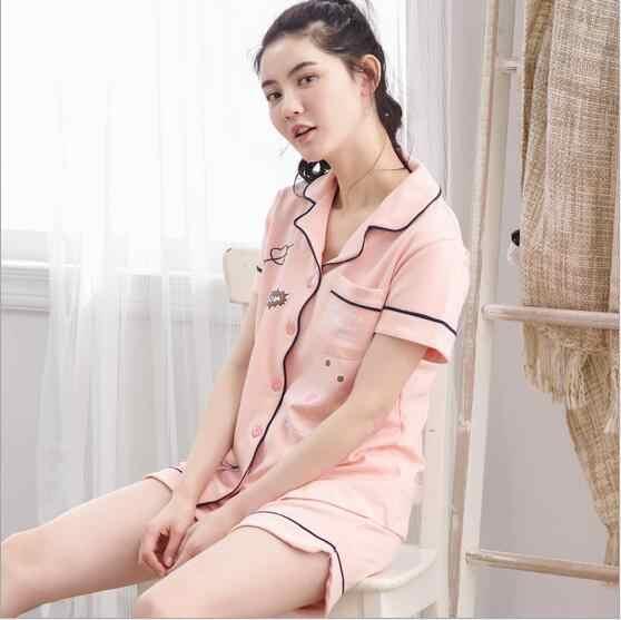 2017 Primavera Verão Novo Algodão de Manga Curta Pijama Pijamas Para As Mulheres Shorts de Pijama Mulher Pijama Sleepwear Conjunto Pijama M-XXL